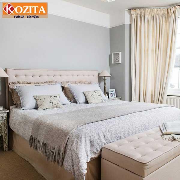 Phòng ngủ màu xám khói kết hợp với nhiều sắc độ màu